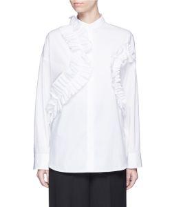 Cédric Charlier | Ruffle Trim Cotton Poplin Shirt