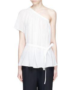 Helmut Lang | One-Shoulder Belted Cotton Guaze Top
