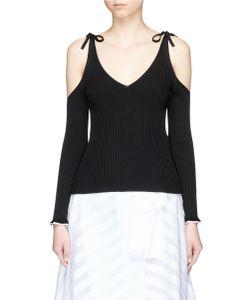 Rosetta Getty | Cold Shoulder Rib Knit Camisole Sweater