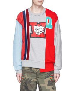 Facetasm   Mascot Print Asymmetric Patchwork Sweatshirt