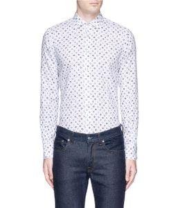 Lardini | Print Linen-Cotton Hopsack Shirt