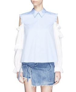 Sandy Liang | Flipper Tiered Ruffle Sleeve Cold Shoulder Shirt