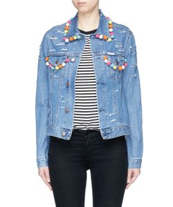 Forte Couture | Pompom Ripped Cotton Denim Jacket