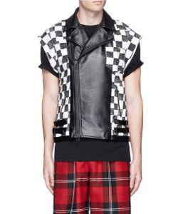 Facetasm | Check Cowhide Leather Patchwork Biker Vest
