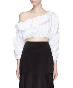 Ellery | Third Degrees Asymmetric Off-Shoulder Ruffle Cropped Top