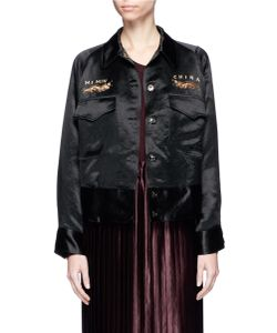MS MIN | Dragon Embroide Satin Worker Jacket