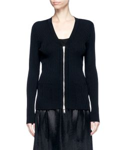 MS MIN | Zip Front Rib Knit Cardigan