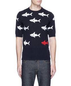 Thom Browne | Shark Intarsia Short Sleeve Cotton Sweater