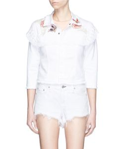 Giamba | Beaded Butterfly Lace Denim Jacket