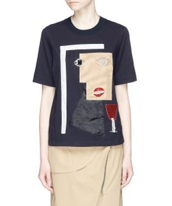Muveil | Geometric Woman Face Embellished T-Shirt