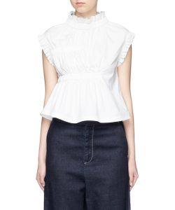 Angel Chen | Gathe Ruffle Sleeveless Poplin Top