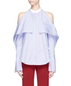 Rosetta Getty | Stripe Foldover Front Cold Shoulder Shirt