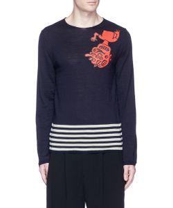 Comme Des Garçons | Cartoon Print Stripe Hem Wool Sweater