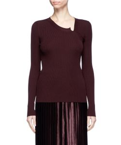 MS MIN | Asymmetric Neck Rib Knit Sweater