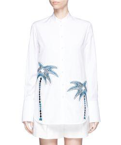 Victoria, Victoria Beckham | Palm Tree Embroide Patch Cotton Shirt