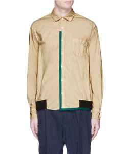 Sacai   Canvas Trim Overydye Cotton Shirt