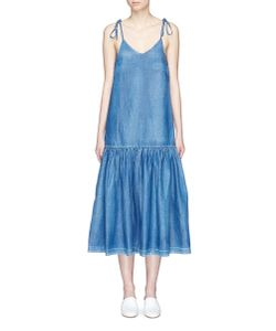 Co | Gathered Drop Waist Denim Dress