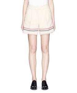 Thom Browne   Stripe Textured Cotton Selvedge Tweed Mini Shorts