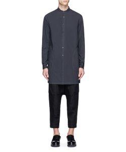 The Viridi-Anne | Gauze Trim Mandarin Collar Shirt