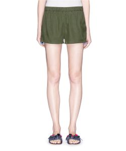 Figue | Cassia Embroidered Outseam Silk Shorts