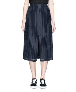 T by Alexander Wang | Stripe Slit Front Raw Edge Skirt