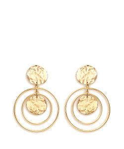 Kenneth Jay Lane | Coin Charm Hoop Plated Drop Earrings