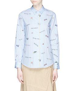 Mira Mikati | Mixed Slogan Print Stripe Shirt