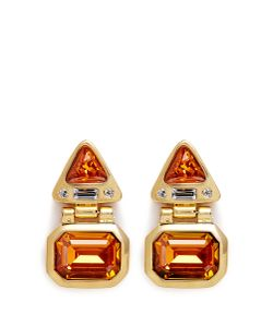 Kenneth Jay Lane | Glass Stone Plated Hinged Drop Earrings
