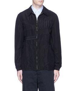 Comme Des Garçons Homme Plus   Stripe Patchwork Wool-Linen Blouson Jacket