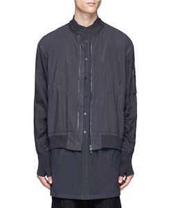 The Viridi-Anne | Ruched Sleeve Gauze Bomber Jacket