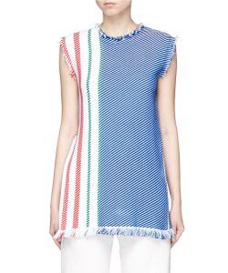 Ports | Contrast Stripe Fringe Hem Sleeveless Knit Top
