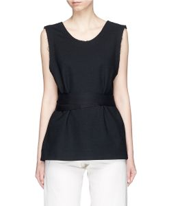 Bassike | Belted Split Back Mock Wrap Tank Top