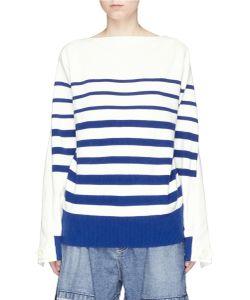 Sacai | Lace-Up Open Back Stripe Sweater