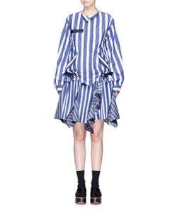 Sacai   Silk Organza Panel Pleated Hem Stripe Dress