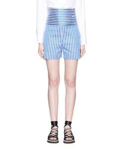 Ports | High Waist Button Panel Stripe Shorts