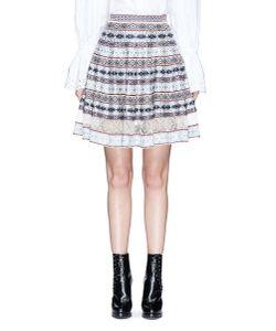 Alexander McQueen | Silk Lace Insert Fair Isle Jacquard Flared Skirt