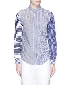 Wooster + Lardini   Stripe Patchwork Poplin Shirt