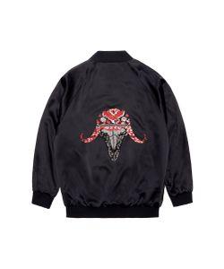 Jay Ahr | Ox Embellished Unisex Silk Satin Bomber Jacket
