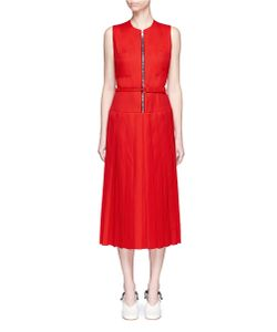 Victoria Beckham | Zip Front Pleated Gabardine Midi Dress