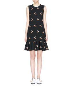 Victoria, Victoria Beckham | Hummingbird Print Flounce Hem Sleeveless Dress