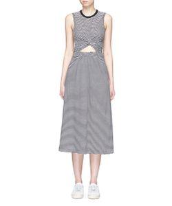 T by Alexander Wang   Twist Front Cutout Stripe Jersey Dress