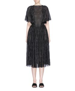 MS MIN | Broderie Anglaise Lotus Sleeve Silk Dress