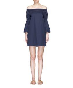 Tibi | Lantern Sleeve Off-Shoulder Poplin Dress