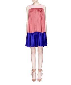 Roksanda   Malene Colourblock Pleated Georgette And Satin Twill Dress