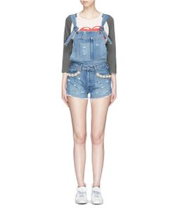 Forte Couture | Kalifornia Embellished Ripped Denim Overalls