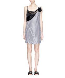 Lanvin | Rosette Chain Necklace Stripe Satin Slip Dress