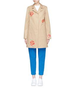 Ports | Cutout Lip Print Cotton Gabardine Coat