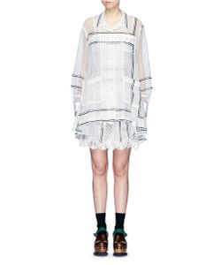 Sacai   Polka Dot Print Lace Hem Organza Dress