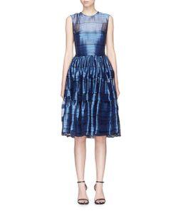 Jourden | Glint Stripe Tiered Organza And Fil Coupé Dress