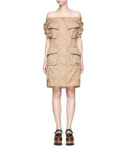 Sacai   Patch Pocket Overdyed Cotton Off-Shoulder Dress